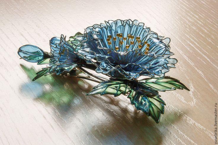 Купить Заколка для волос Лесные пионы - комбинированный, украшение для волос, украшение с цветами, заколка-цветок