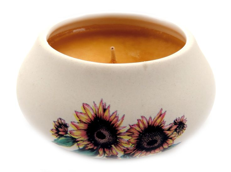 Off white ornamental ceramic candle with a sunflower design CNDL7