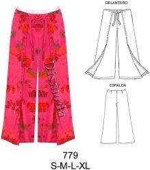 779 Pantalon Pareo Amarrado , Tallas: S-M-L-XL , Tela: Crepe , seda , Lino , Consumo : 2.15 Metros (T.L) Aprox.