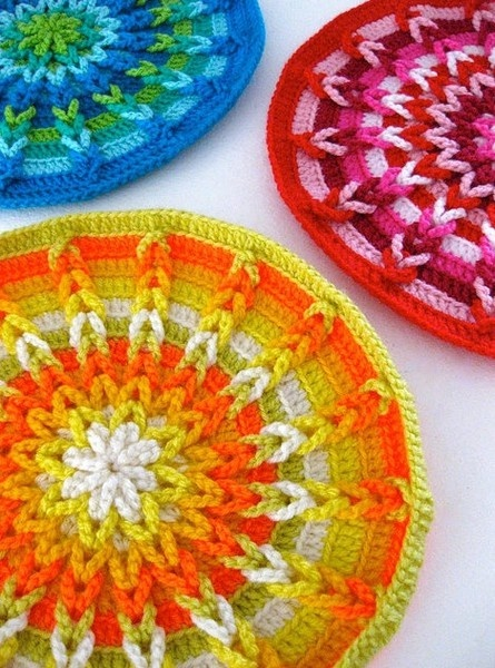 The bright colors of these #crochet patterns are nice and bold. Use them as coasters or another household item. #Home
