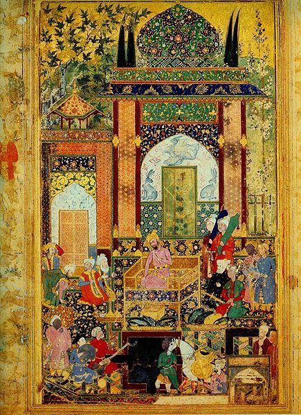 Babur Receives a Courtier, 1589, Farrukh Baig, Mughal dynasty,