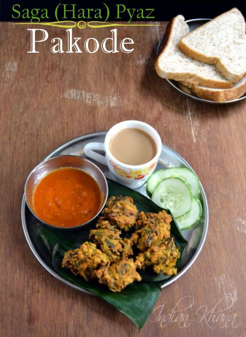 Saga (Hara) Pyaaz Pakora | Spring Onion Fritters  Tea time snack or monsoon munching ..try these spring onion fritters and fall in love ....