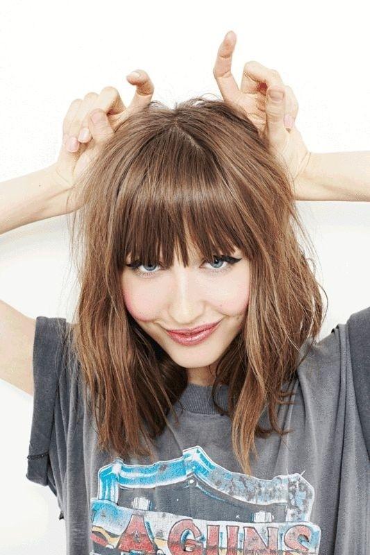 Medium Haircut with Blunt Bangs - Medium Length Hairstyles 2015