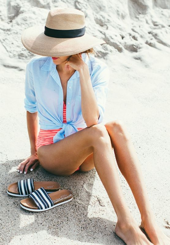 Christine Andrew is looking gorgeous in this striped swimming costume and blue shirt!  Shirt: Old Navy, Swimsuit: Old Navy... | Style Inspiration
