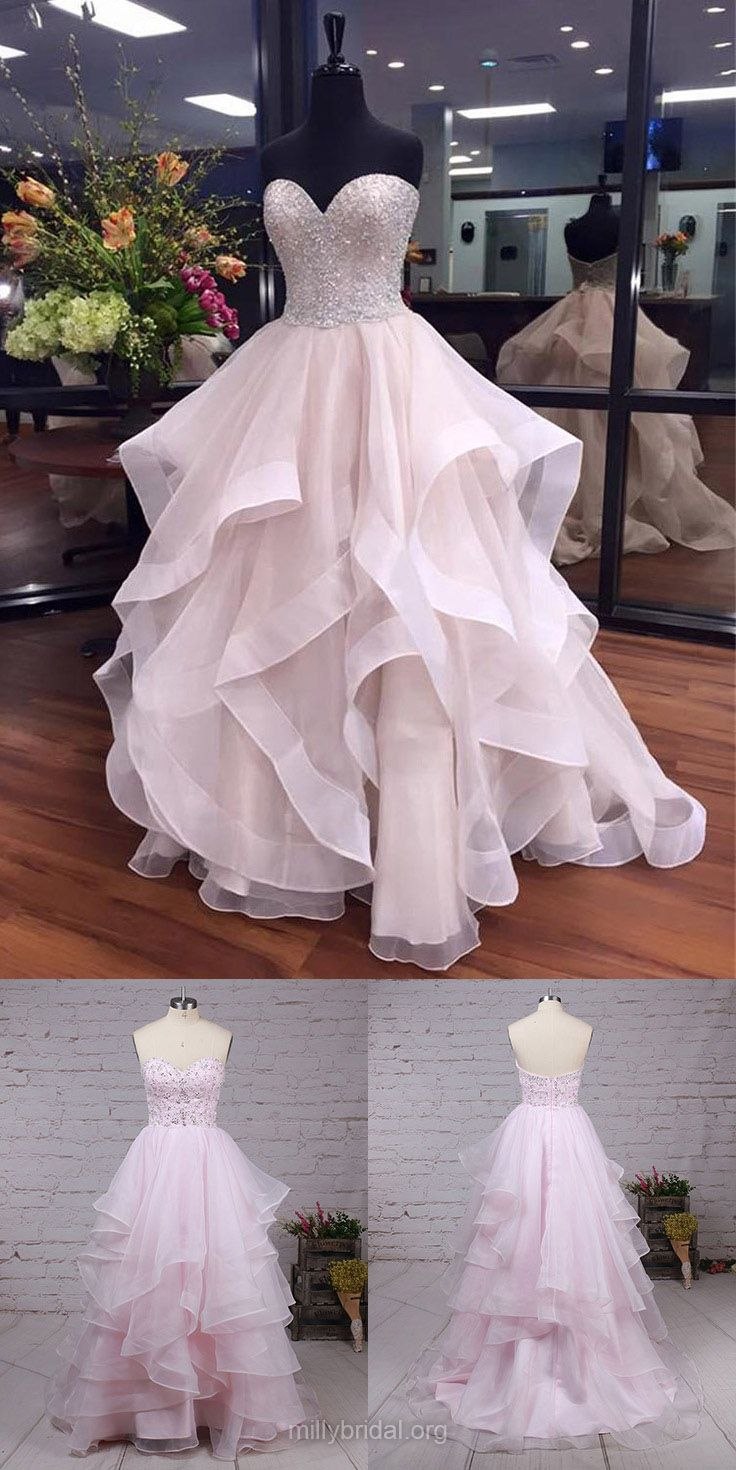 Ball Gown Prom Dresses, Prom Ball Gowns, Long Prom Dresses For Teens, Sweetheart Prom Dresses Organza, Beading Prom Dresses Boutique #ballgowns
