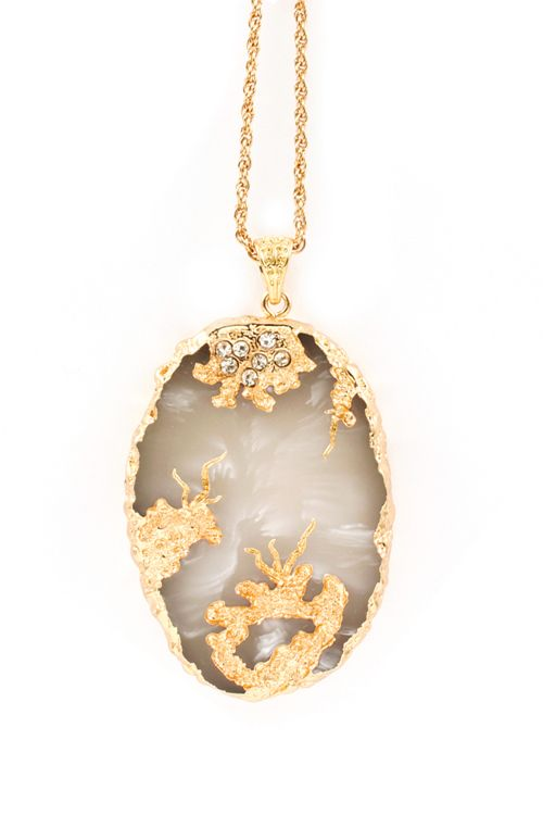 Gold Dipped Agate Necklace | Awesome Selection of Chic Fashion Jewelry | Emma Stine Limited