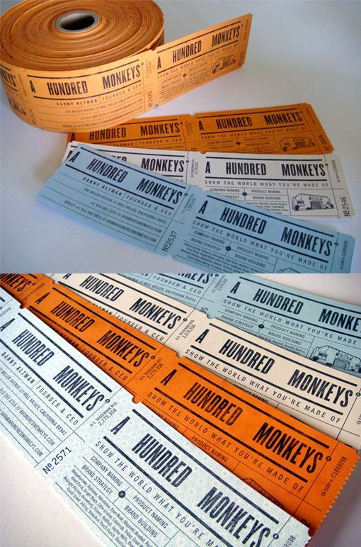 Ticket Roll Business Cards For A Hundred Monkeys