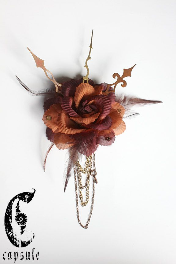 Burnt Orange and Burgundy Steampunk Victorian Flower Hair Clip with Feather, Vintage Cogs, Gears, Golden and Copper Hands, Chains and Key. by CapsuleCreations on Etsy