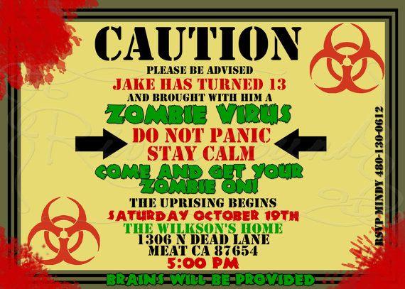 printable zombie birthday invitation