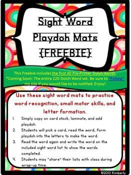 """{FREEBIE} Sight Word Playdoh Work Mats:Dolch Pre-Primer.  Be sure to """"FOLLOW"""" my Teachers Pay Teachers store to receive notices of new FREEBIES, sales, and products."""