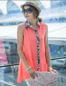 J71642 Shivering Collar Sleeveless Shirt [J71642] - $7.75 : China,Korean,Japan Fashion clothing wholesale and Dropship online-Be the most beautiful Lady
