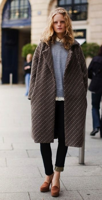 Hanne Gaby Odiele in an amazing oversized coat