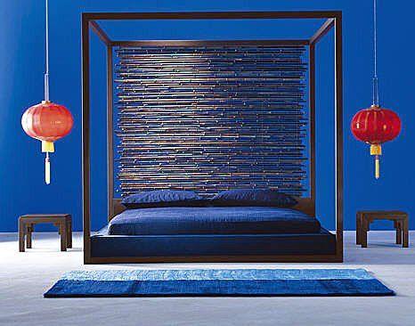 oriental minimalism and a blue wall :) looks fine.