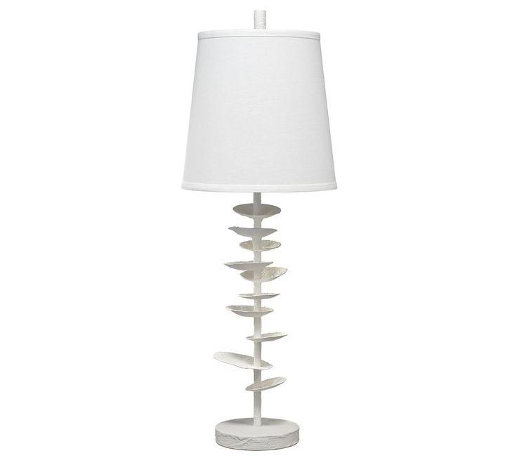 Oleander Table Lamp White Plaster And Off White Linen
