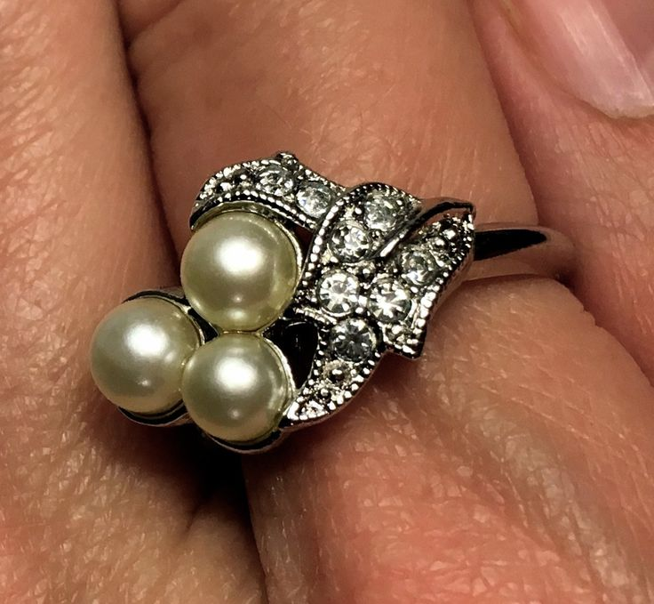 Beautiful Vintage Avon Cocktail Ring with Three Faux Pearls and Clear Stones. by TheDustyWingVintage on Etsy