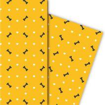 Cooles Halloween Geschenkpapier mit Herz und Knochen (4 Bögen 32 x 48cm), auf gelb