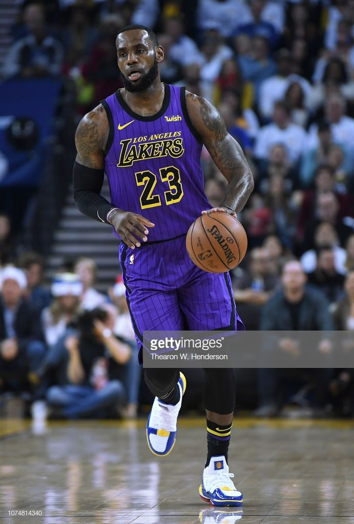 fea62fef730 LeBron James of the Los Angeles Lakers dribbles the ball up court ...