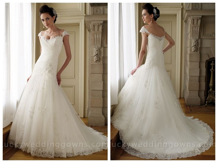 CAP SLEEVES LACE TULLE A-LINE WEDDING DRESS WITH ASYMMETRICAL DROP WAIST