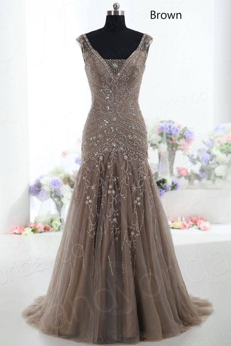 Vintage Drop Waist V-Neck Court Train Tulle Brown Champagne Ivory Purple Silver Mother of The Bride Dress Bmmc0009