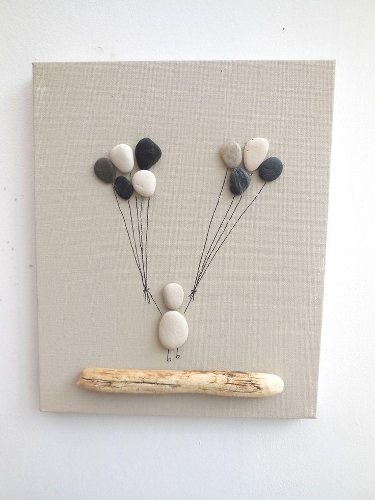Tableau féerique de galets enfant aux ballons : Collages par ingrid-creations