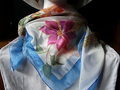 Absolutamente Fabuloso 100% Seda Bufanda Cuadrada 90x90cm-Pintado a Mano Diseño Único