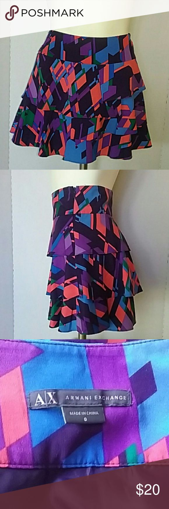 """A/X Armani Exchange Skirt A/X, Beautiful Ruffled Skirt.  Multicolor.  Lined, zipper at side. Measurement  Aprox. 14"""" waistlines (side to side)  13 1/2"""" Length.  Thanks for your interes. A/X Armani Exchange Skirts Mini"""