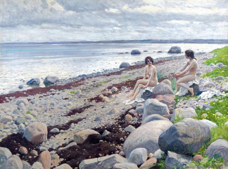 Paul Gustave Fischer - Bathing on a beach
