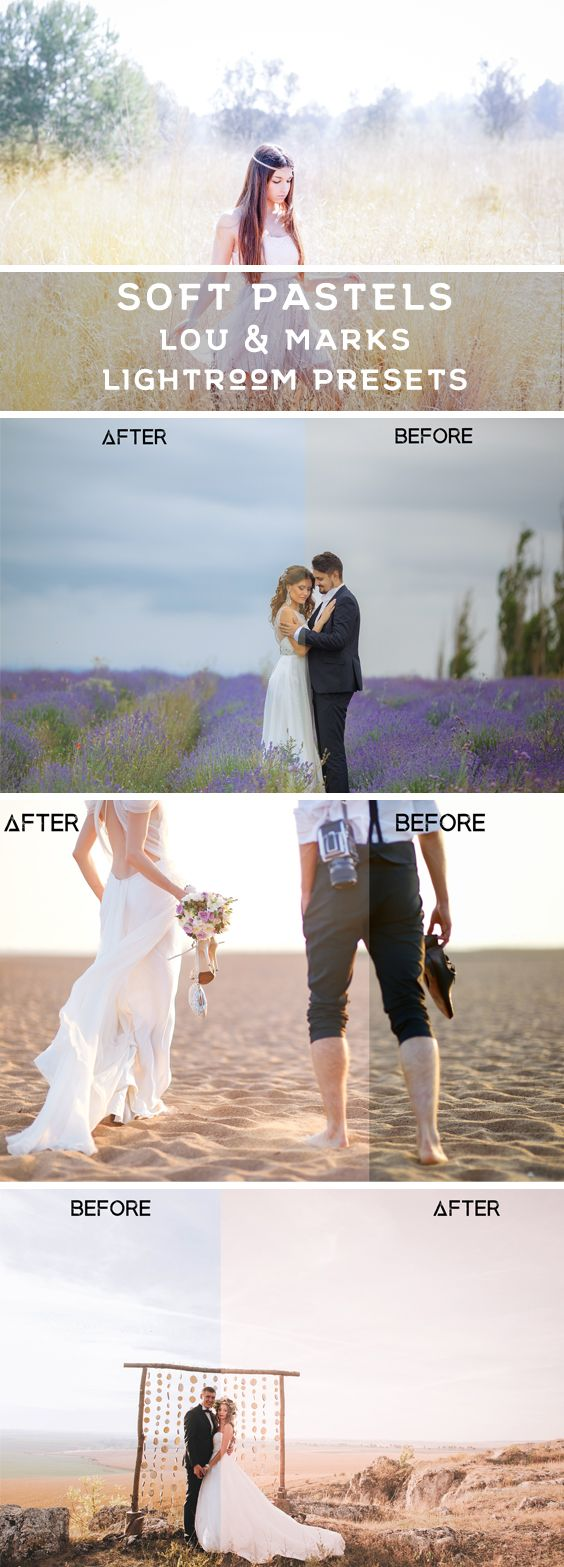 25 Pastel Lightroom Presets Designed to give your Photography a soft pastel color and a light glow. Achieve beautiful colors and toning with these 25 Lightroom presets. Designed for Portraits, Newborn, Wedding, Maternity Photoshoots, and other outdoor portrait photography.