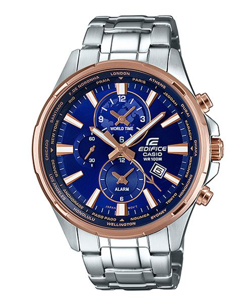 Casio Edifice EFR-304PG-2AVUDF - For Men Price In Pakistan  PRODUCT DESCRIPTION   	Case / bezel material: Stainless steel  	One-touch 3-fold Clasp  	Stainless Steel Band  	Mineral Glass  	Screw Lock Back  	Pink gold ion plated case  	100-meter water resistance  	World time 24 time zones  Visit Our Website: http://www.available.pk/