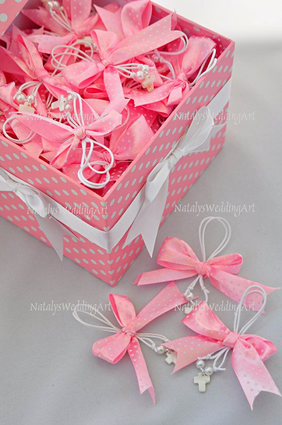 Greek Wedding Shop - Pink and White Polka Dot Martyrika. Witness Pins for your godchild's baptism ceremony (http://www.greekweddingshop.com/pink-and-white-polka-dot-martyrika/)