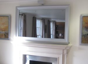 Tv Cover Which Hides It With Mirror I Want To Do This The Small In Bedroom Double As A Vanity Hmmm Need Thin