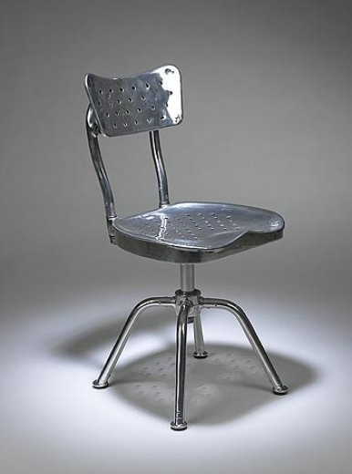 GIO PONTI    prototype desk chair for the Montecatini Building    Ditta Parma Antonio E Figli  Italy, c.1938  polished aluminum  16 w x 15 d x 32 h inches  Created for the headquarters of Montecatini, an Italian aluminum production company headquartered in Milan.