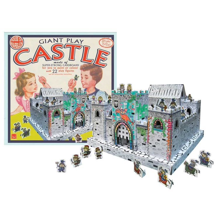 A fabulous fortress made of sturdy card – to be painted, constructed and played with (lots of colourful characters included).  This substantial castle even has a real working portcullis to repel invaders!  A wonderful, historical creative project which will provide hours of creative and imaginative fun play.