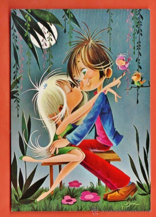 postal - pareja enamorada bajo la luna - dib. asun - nº 7048 - ed. cyp - circulada - año 1969