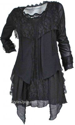Pretty Angel Clothing PLUS SIZE Layered Vintage Blouse In Black