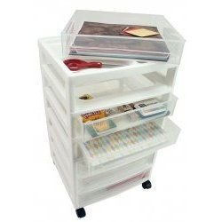 Scrapbook Case Chest with Organizer Top by Iris, White frame with clear cases Scrapbook Organizers - 150692/SBD-356