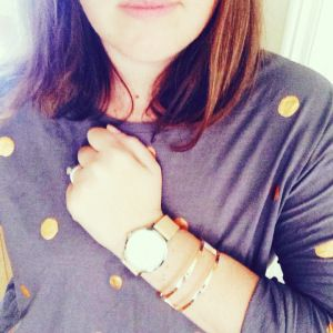 What I wore: Rose gold bangle. The Horse watch with rose gold detail. Elm Lifestyle polka dot shirt from Suk.ii Store.