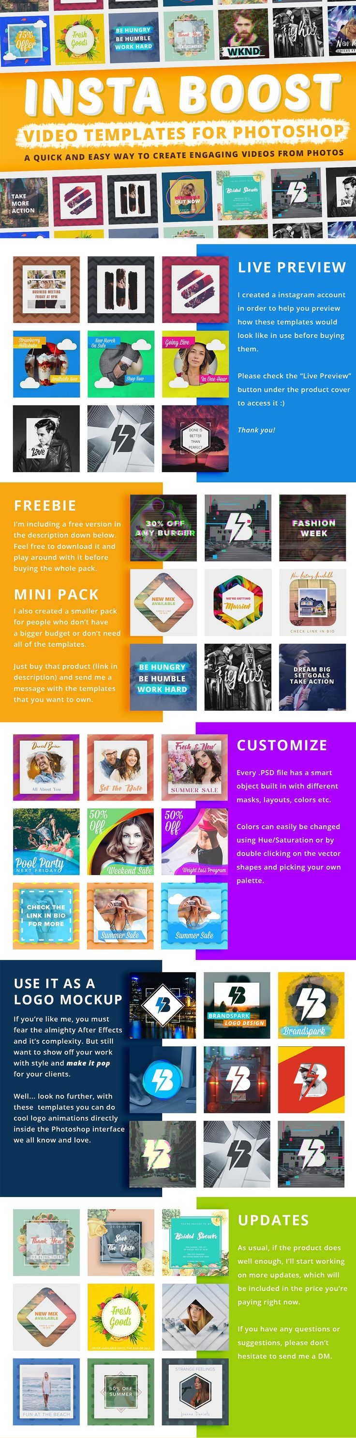 Animated #Instagram Graphics Bundle | Video #templates for #photoshop