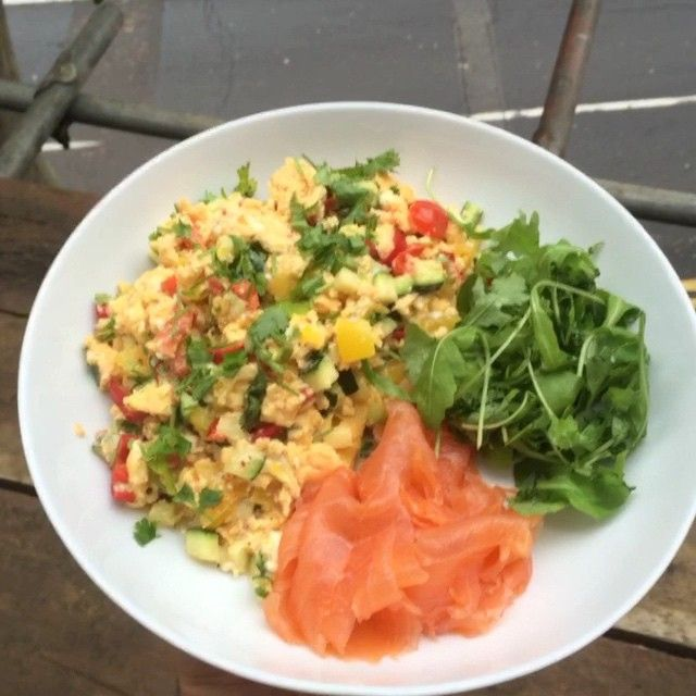 """Bosh Start your day off like a winner with a #leanin15 breakfast like this! Scrambled eggs with feta and smoked salmon  More healthy fats and…"""
