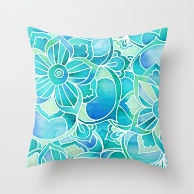Aqua & Emerald - blue, turquoise & mint green floral design Throw Pillow