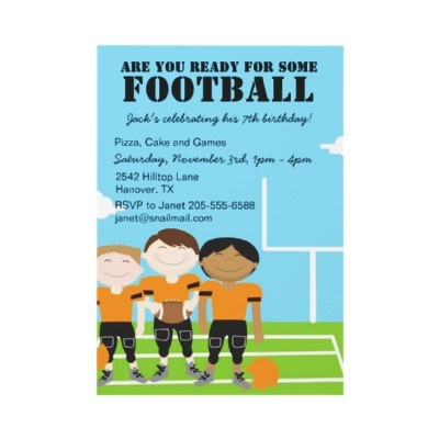 Football Birthday Party Themed Invitations Kids Tailgate Invites Superbowl Boys Night In Monday Footb