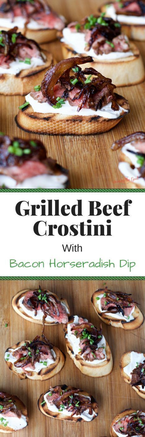 This super easy, step by step recipe for grilled beef crostini with bacon horseradish dip is a delicious twist on a classic flavor combination. This appetizer is perfect for every entertaining occasion from fourth of July, tailgating, holiday parties and