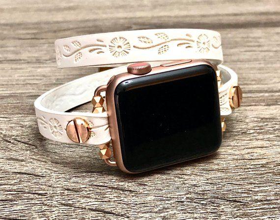 Rose Gold   White Leather Bracelet for Apple Watch 38mm 40mm iWatch Band  Vegan Leather Apple Watch Band Women iWatch 42mm 44mm Wrap Bracelet 2b731e5eff