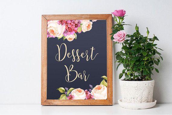 Printable Dessert Bar Sign, Floral Dessert Bar Sign, Navy Wedding Ideas, DIY Weddinf Decor, Peony Table sign. Matching wedding invitation, cards and signs at: lipamea.etsy.com