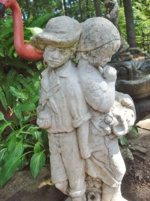 Vintage Cement Garden Fountain Statue Boy Girl Shabby