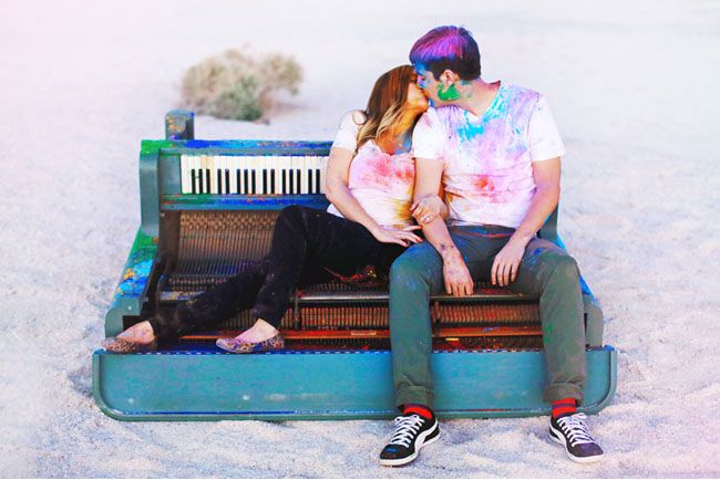 Engagement Photos with a Blue Piano and Holi Powder: Lolo + Brandon | Green Wedding Shoes Wedding Blog | Wedding Trends for Stylish + Creative Brides