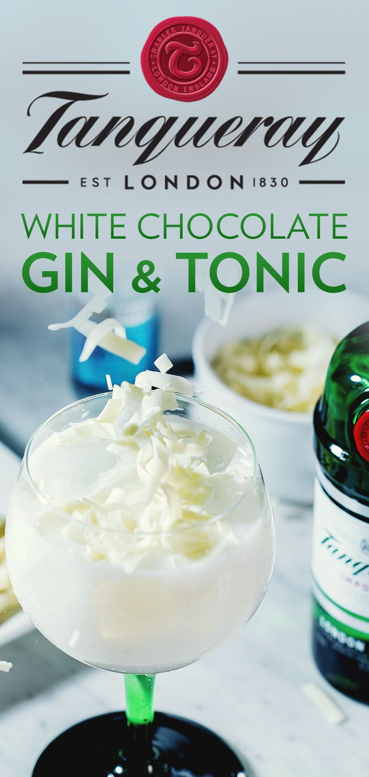 With the White Chocolate Gin & Tonic, you can have dessert and drinks covered. This cold weather cocktail recipe is perfect for fall or winter hosting, or a night in with the crew. To make, mix 1.5 oz. Tanqueray London Dry, 0.5 White Cacao Liqueur, Mediterranean Fever-Tree Tonic, and Twist lemon discarded. Garnish with Shaved White Chocolate.