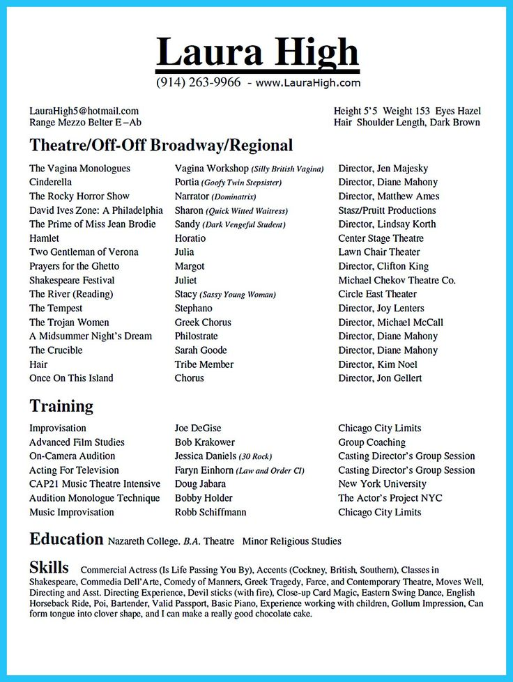 594 best Resume Samples images on Pinterest Resume templates - musical theatre resume examples