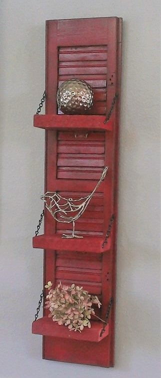 Shutter Shelf Shabby Chic RED Farm Unique by ThreeTwigsDesigns