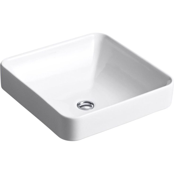 "master- KOHLER K-2661-0 Vox 16 1/4"" x 16 1/4"" Single Bowl Vessel Square Above-Counter Vitreous China Bathroom Sink with Overflow White - eFaucets.com"